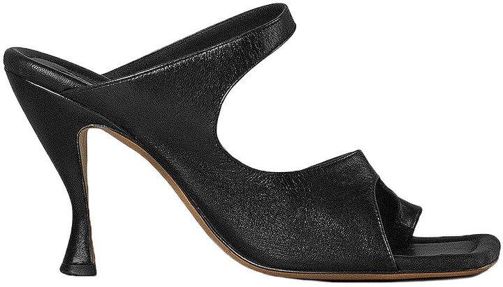 Leather Cutout Sandals in Black   FWRD