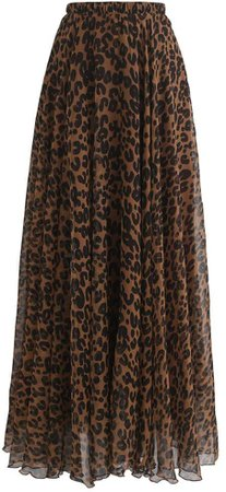 Chicwish Women's Watercolor /Violet/Green/Pink/Blue/Orange/Navy Flower Maxi Floral Chiffon Slip Skirt: Clothing