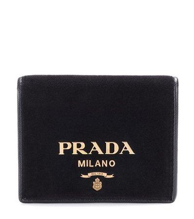 Embellished velvet wallet