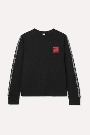 Printed Cotton-blend Jersey Sweatshirt - Black