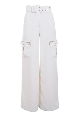 House of CB - 'LUCILLE' White Wide Leg Crepe Trousers