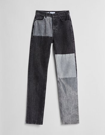 Straight fit high-rise jeans with contrasting panels - NEW - Woman | Bershka
