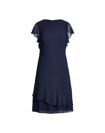 Lauren Ralph Lauren Georgette Boatneck Dress - Short Dress - Women Lauren Ralph Lauren Short Dresses online on YOOX United States - 15037878SF