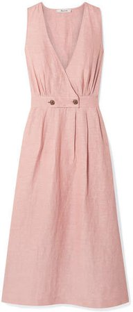 Wrap-effect Linen-blend Midi Dress - Blush