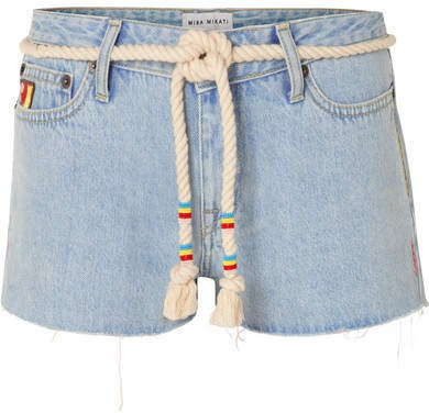 Belted Embroidered Denim Shorts - Light denim