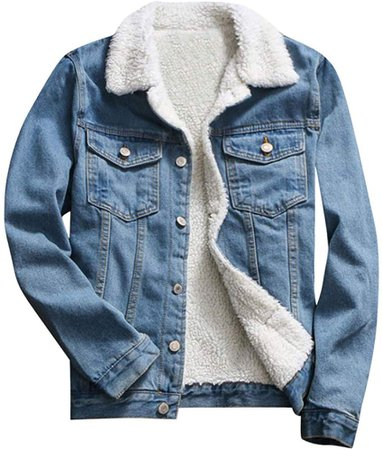 JESPER Women Autumn Winter Denim Upset Jacket Vintage Casaul Warm Loose Jeans Coat Blue at Amazon Women's Coats Shop