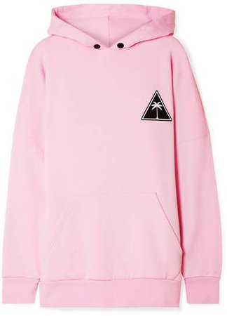 Printed Cotton-jersey Hooded Top - Baby pink