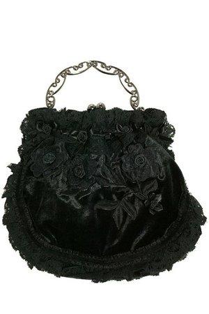 Black Velvet and Rose Evening Purse Bag | Gothic Accessories