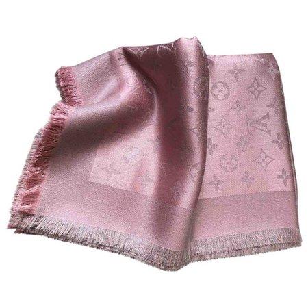 Châle monogram shine silk stole Louis Vuitton Pink in Silk - 9271463