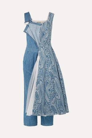 Denim-brocade And Tulle Overalls - Blue