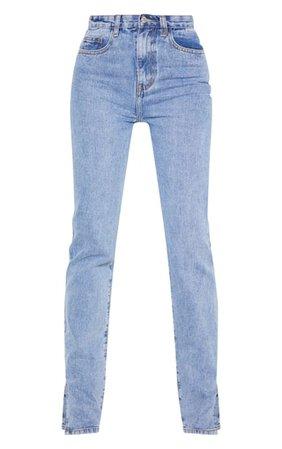 Tall Mid Wash Split Hem Jeans | Tall | PrettyLittleThing USA