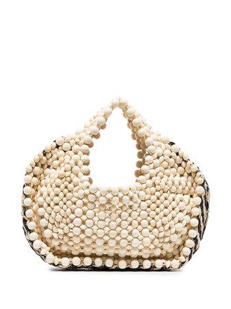 Aranaz, woven-detail beaded tote bag