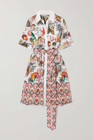 Cecilia Belted Printed Linen Shirt Dress - White