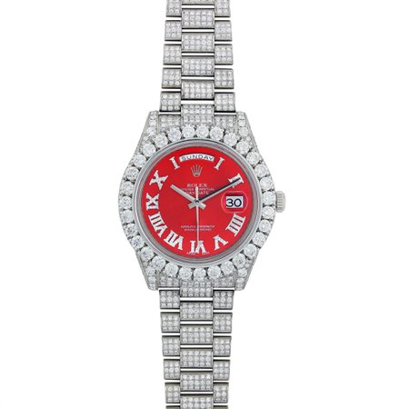 Iced Out Rolex Day Date Ii President White Gold 218239 - OMI Jewelry