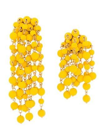 Jacquemus Beaded Chain Earrings 201JW1120187210 Yellow | Farfetch