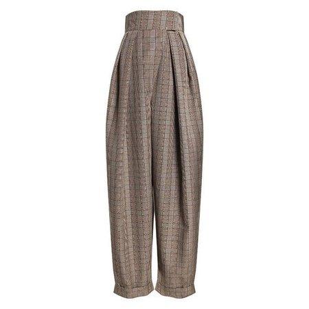 Elegant High Waist Plaid Pants