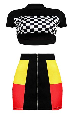 Amazon.com: Women Two Piece Outfit Dress Suit Crop Top PU Leather Bodycon Mini Skirt Set Party Clubwear: Clothing