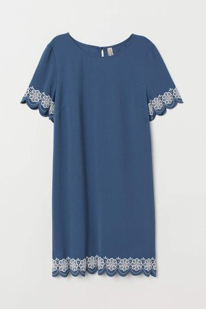 Short-sleeved Dress - Blue