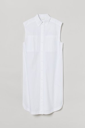 Sleeveless Shirt Dress - White