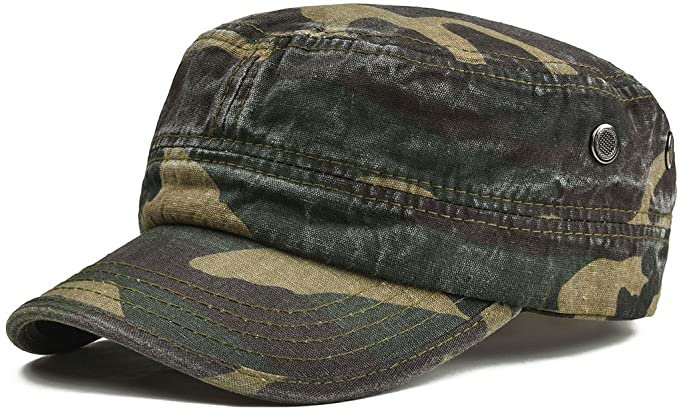 Amazon.com: VOBOOM Washed Cotton Military Caps Cadet Army Caps Unique Design Vintage Flat Top Cap (Army Green): Clothing
