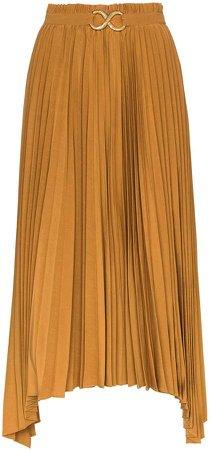 Kiera pleated asymmetric midi skirt