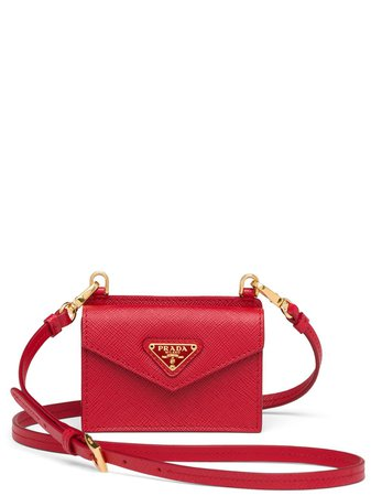 Shop red Prada shoulder strap cardholder with Express Delivery - Farfetch