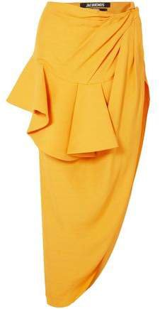 La Jupe Sol Asymmetric Ruffled Canvas Maxi Skirt