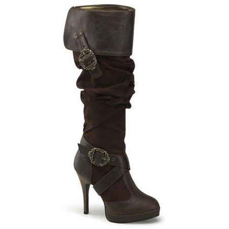 Dark Brown Buckle Pirate Boots