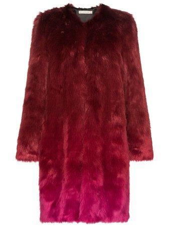 Red Mary Katrantzou Thalia Ombre Faux Fur Coat | Farfetch.com