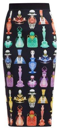 Opium Perfume Print Crepe Pencil Skirt - Womens - Black Multi