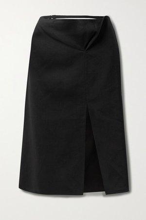 Cutout Hemp-blend Skirt - Black