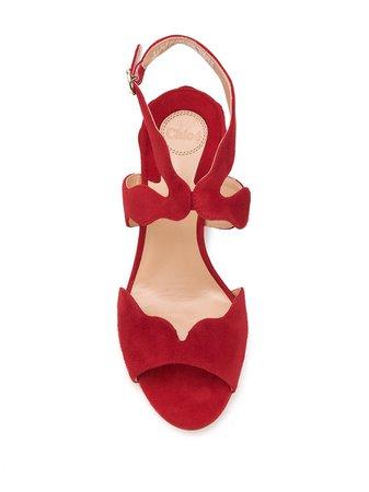 Chloé Scalloped Strap Sandals C20U3300163 Red | Farfetch