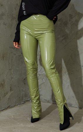 Khaki Vinyl Split Hem Skinny Trousers   PrettyLittleThing USA