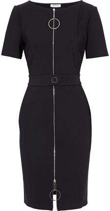 Zip-detailed Belted Stretch-knit Mini Dress