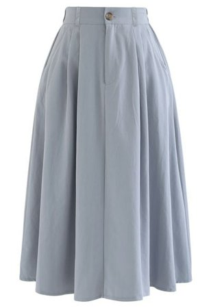 Chic Wish Satin A-Line Midi Skirt in Grey - Retro, Indie and Unique Fashion