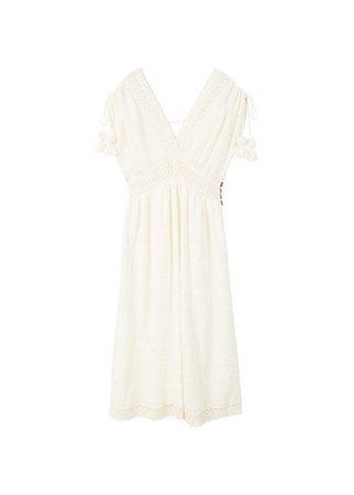 MANGO Pompons detailed cotton dress