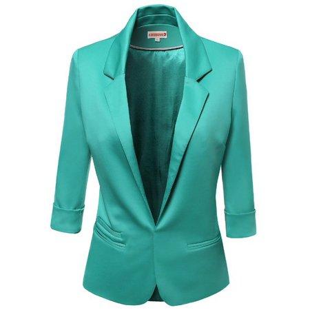 FashionOutfit - FashionOutfit Women's 3/4 Sleeve Lining Open Blazers - Walmart.com - Walmart.com