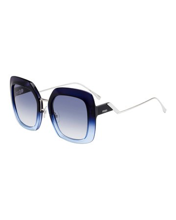 Fendi Oversized Square Acetate & Metal Sunglasses | Neiman Marcus