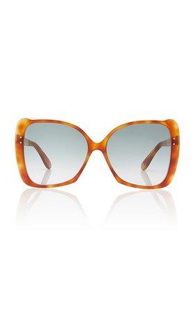 Butterfly-Frame Tortoiseshell Acetate Sunglasses by Gucci   Moda Operandi