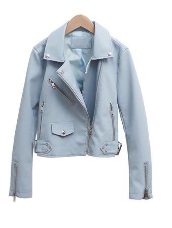 light blue pu leather jacket