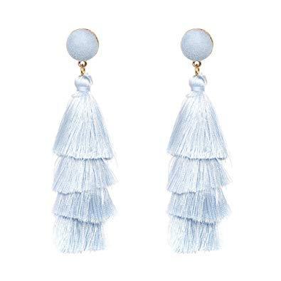 light blue tassel earrings - Google Search