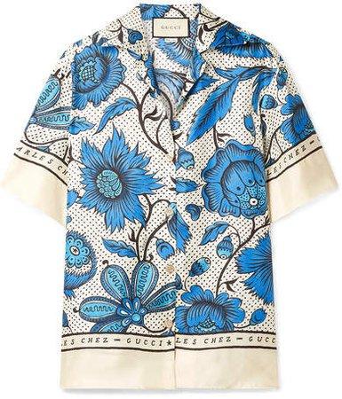 Floral-print Silk-twill Shirt - Blue