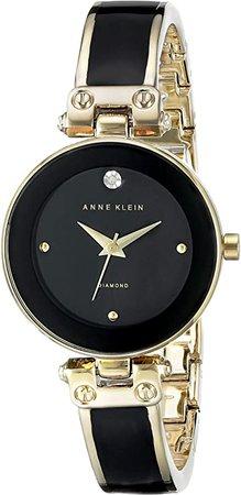Anne Klein Women's AK/1980BKGB Diamond-Accented Dial Black and Gold-Tone Bangle Watch: Anne Klein