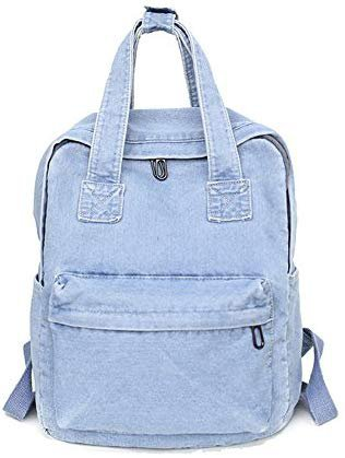 Amazon.com | Girls Vintage Denim Backpack Jeans Daypack Travel Bag Rucksack Light Blue | Casual Daypacks