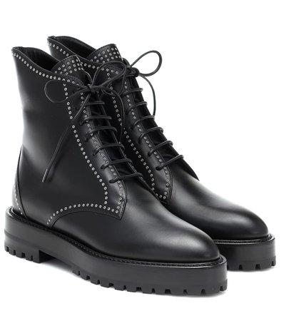 Alaïa - Lace-up leather ankle boots | Mytheresa