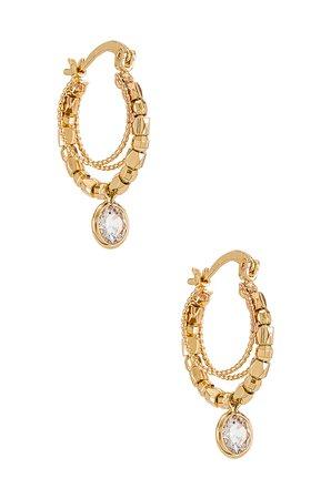 Ettika Embellished Hoop Earrings in Gold | REVOLVE