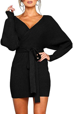 MANSY Women's Sexy Cocktail Batwing Long Sleeve Backless Mock Wrap Knit Sweater Mini Dress at Amazon Women's Clothing store