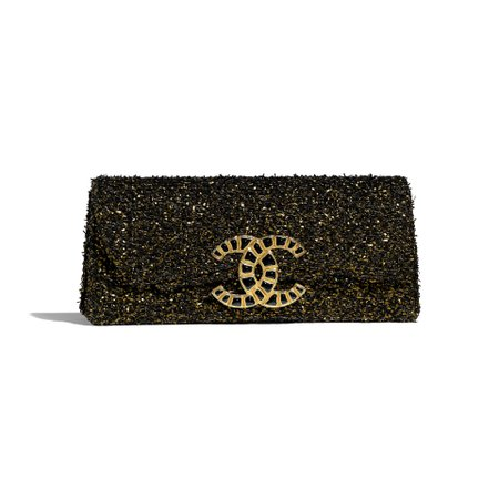 Tweed & Gold-Tone Metal Black & Gold Clutch | CHANEL