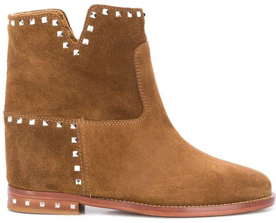 Cut-Out Studded Ankle Boots
