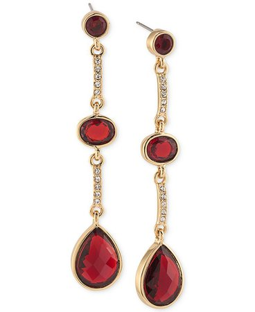 Carolee Gold-Tone Burgundy Stone and Pavé Linear Drop Earrings & Reviews - Fashion Jewelry - Jewelry & Watches - Macy's